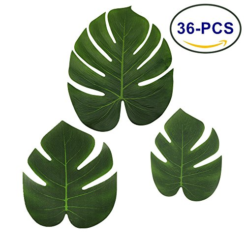 LJDJ Tropical Leaves Palm - Set of 36 - Artificial Silk Fabric Monstera Decoration Leaf 3 Different Sizes Small Medium Large - Hawaiian Luau Jungle Beach Theme Party Supplies Table Decor Accessories (Palm Fake Small Tree)