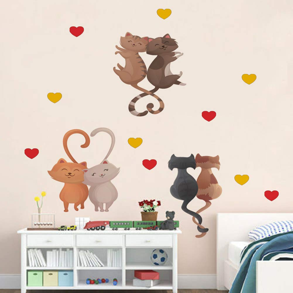 OFISSON Cute Cartoon Cats Lovely Kitty Wall Sticker Peel and Stick Decal, Baby Room Wall Decor, Sticker for Children Baby Kids Boy Girl Bedroom Nursery Decor