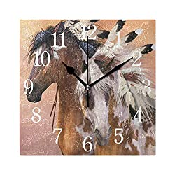 Abbylife Native American Indian Horse Square Wall Clock, Silent Non-Ticking Easy to Read Decorative Battery Operated Wall Clock Art Living Room Home Office School 10.23x10.23x 0.2