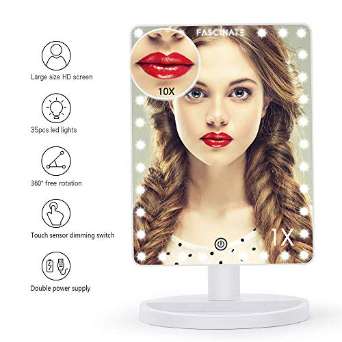 FASCINATE Extra Large Lighted Makeup Mirror, Makeup Vanity Mirror with 32 LED Lights and 10X Magnification, Touch Screen Dimmable 360°Rotation, Dual Power Supply Countertop Cosmetic Mirror (White)