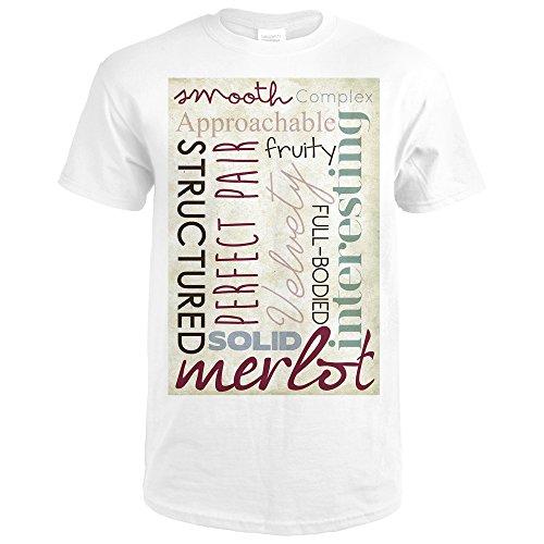 Merlot Framed - Merlot Typography (Premium White T-Shirt X-Large)