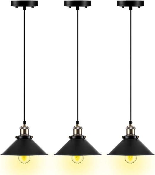 Amazon Com Pendant Lighting For Kitchen Island 3 Pack Pendant Lights Bronze Pendant Light Fixtures E26 Base Hanging Lamp Simplicity Bronze And Black Finish Fixture Home Kitchen