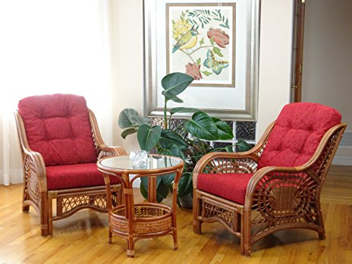 3 PC Malibu Design Natural Handmade Rattan Wicker Light Brown Set: 2 Lounge Arm Chairs with Burgundy Cushions and Coffee Table Review