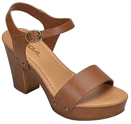 (SODA Women's Bold Buckles Studded Wedge Sandal,Tan Pu,7)