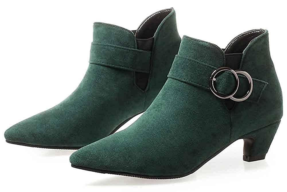 Womens Chelsea Pointed Toe Pull On Short Boots Fashion Chunky Low Heels Ankle Booties with Buckle Strap