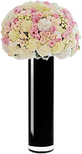 CYS EXCEL Hand Blown-Black Glass Cylinder Vase, Flower Vase, Floating Candle Holder Wedding Decorative Centerpiece, Thickness 3 16th 6 Wide x 20 Tall Pack of 4