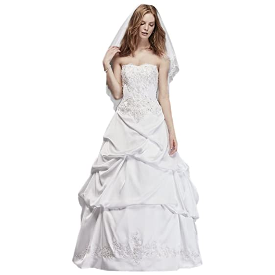 David\'s Bridal Satin Wedding Ball Gown with Drop Waist Style OP1291 ...