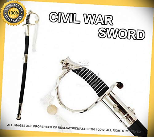 (36'' CSA Cavalry Saber Civil War Officer Sword Chrome Brand New perfect for cosplay outdoor camping)