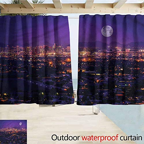 Outdoor Patio Curtains USA Phoenix Arizona Full Moon Sky Room Darkening, Noise Reducing W55x72L Inches (Phoenix Patio Curtains Outdoor)