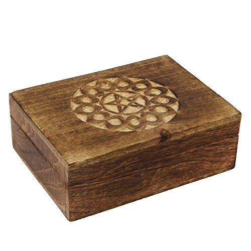 2 Day Designs Keepsake (Valentine Gifts Ideas Wooden Star Pentacle Keepsake Trinket Jewelry Box Storage Organizer | Handmade | (Design 2))