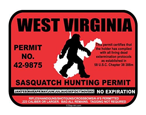 West Virginia Sasquatch Hunting Permit License Bigfoot Vinyl Sticker Decal