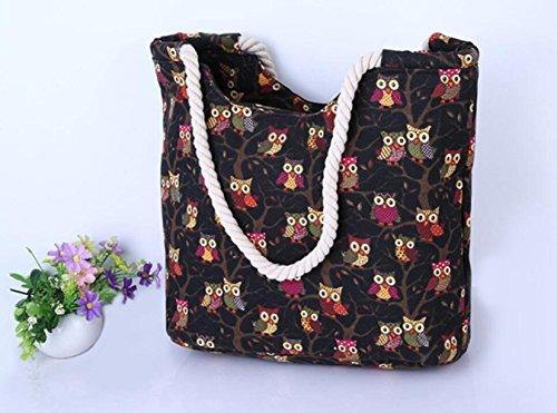 Hombro De Bolsa Gran Blue Bolsa Capacidad De De Bag Niñas Patrón para Viaje Bag Bolsa Mochuelo Y Casual Yellow Playa Mujer Lona De Linda De para Viaje SapUOw