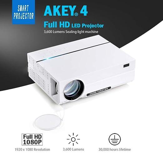 KAIDILA Proyector Full HD AKEY 4. 1920 * 1080, proyector LED de ...