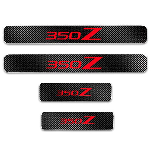 (for Nissan 350Z Door Sill Protector Reflective 4D Carbon Fiber Sticker Door Entry Guard Door Sill Scuff Plate Stickers Auto Accessories 4Pcs Red)