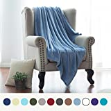 Flannel Fleece Luxury Blanket Washed Blue Twin Size Lightweight Cozy Plush Microfiber Solid Blanket by Bedsure