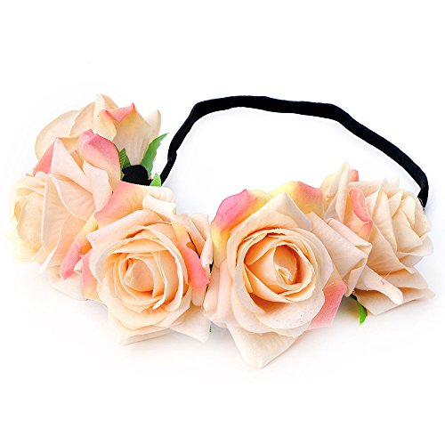 - June Bloomy Rose Floral Crown Garland Flower Headband Headpiece for Wedding Festival (Velvet Champagne)