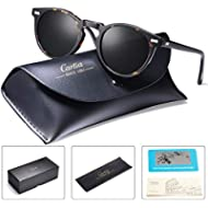 Carfia Vintage Polarized Sunglasses for Men, 100% UV400 Protection Acetate Frame