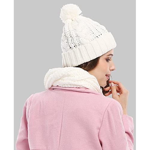 Womens Knitted Pom Pom Beanie Cap with Knitted Scarf Set Two Piece, White