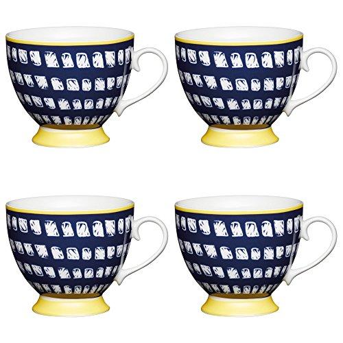 Kitchen Craft Large Bone China 'Navy Squares' Footed Paint-Style Printed Mugs, 400 ml - Blue/Yellow (Set of 4)