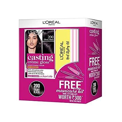 L'Oreal Paris Casting Crème Gloss Hair Colour 200 (Ebony Black) with Manicure Kit FREE, 405 g