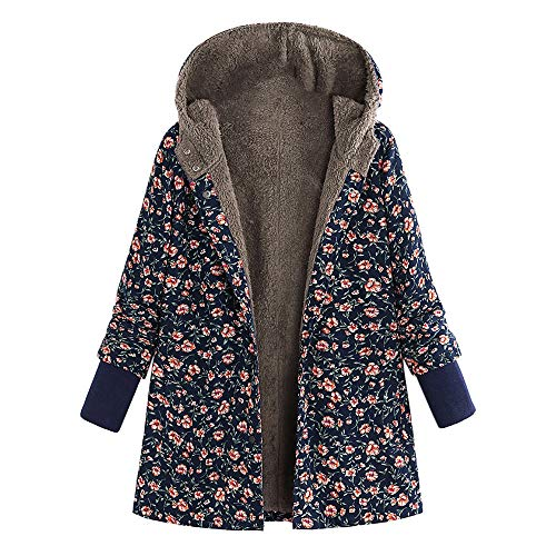UONQD Clearance! Women Winter Hooded Long Sleeve Vintage Print Fleece Thicken Hasp Coats Outwear (XX-Large,Xe-Navy)
