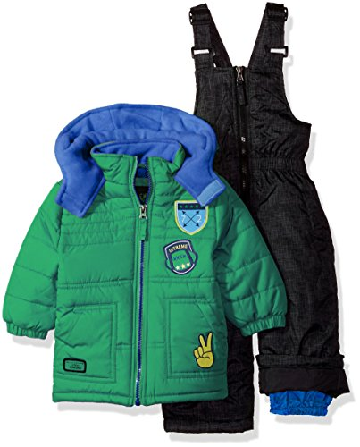 iXtreme Baby Boys Inf Quilted Snowsuit W/Patches, Green, 12M Baby Boy Snowsuit