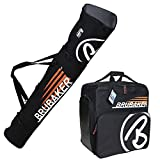HENRY BRUBAKER ''Champion'' Combo Ski Boot Bag and Ski Bag for 1 Pair of Ski up to 190 cm, Poles, Boots and Helmet - Black Orange
