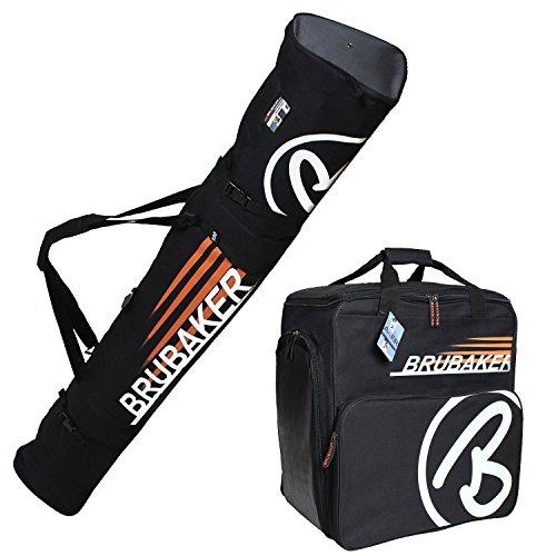 HENRY BRUBAKER ''Champion'' Combo Ski Boot Bag and Ski Bag for 1 Pair of Ski up to 190 cm, Poles, Boots and Helmet - Black Orange by BRUBAKER
