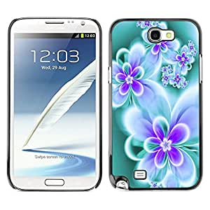 [Neutron-Star] Snap-on Series Teléfono Carcasa Funda Case Caso para Samsung Note 2 N7100 [Floral de la mariposa del trullo vibrante neón Colores]