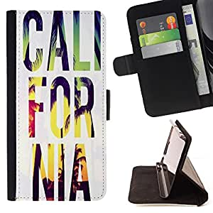 - California Summer - - Monedero PU titular de la tarjeta de cr?dito de cuero cubierta de la caja de la bolsa FOR Samsung ALPHA G850 Retro Candy