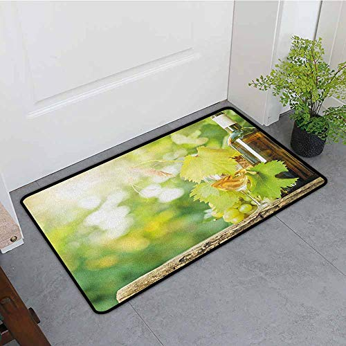 ONECUTE Washable Doormat,Wine White Wine Bottle Glass Young Vine and Bunch of Grapes in Green Spring,Machine-Washable/Non-Slip,31