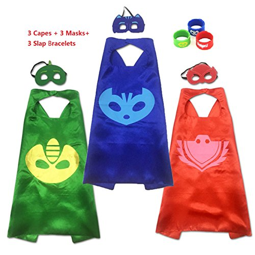 Happytime Superhero Cape and Mask Dress Up Costumes Catboy Owlette Gekko Mask With Slap Bracelet For Kids Toddlers (Cartoon Costumes With Slaps (80s Fancy Dress Characters)