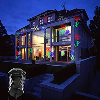 Christmas Projector Lights Led Projection Light, Kohree Outdoor Light Snowflake Spotlight 10 Pattern Sparkling Landscape Lights for Holiday Party Waterproof Multilcolor