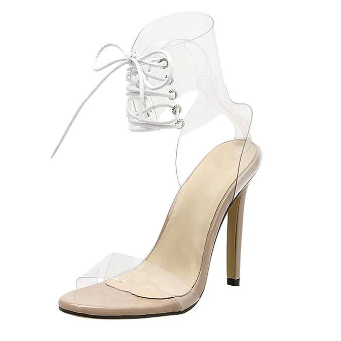 〖Vovotrade〗Donne Cinturino in PVC Open Toe Scarpe Sandali Trasparenti Sexy  Pompa Partito Sandali Tacco Alto  Amazon.it  Abbigliamento 221c45089a0