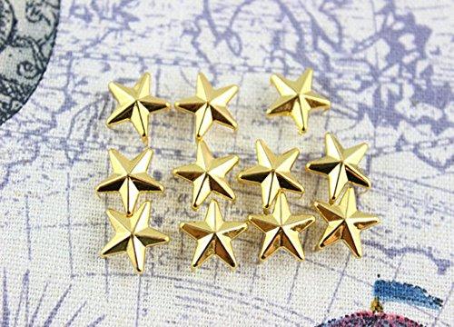 (Nailheads - Spots - Studs - 100 pcs 60ss (12mm) Star Nailheads Gold- Gold Star Studs - Premium Quality Brass Nailheads)
