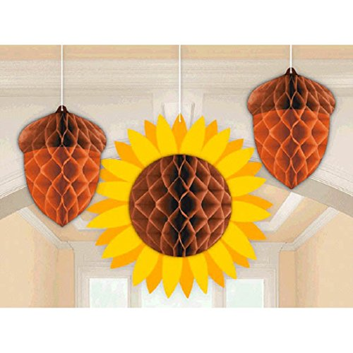 Amscan Fall Icons Hanging Honeycomb Decorations with Acorns and Sunflower - 1 pack