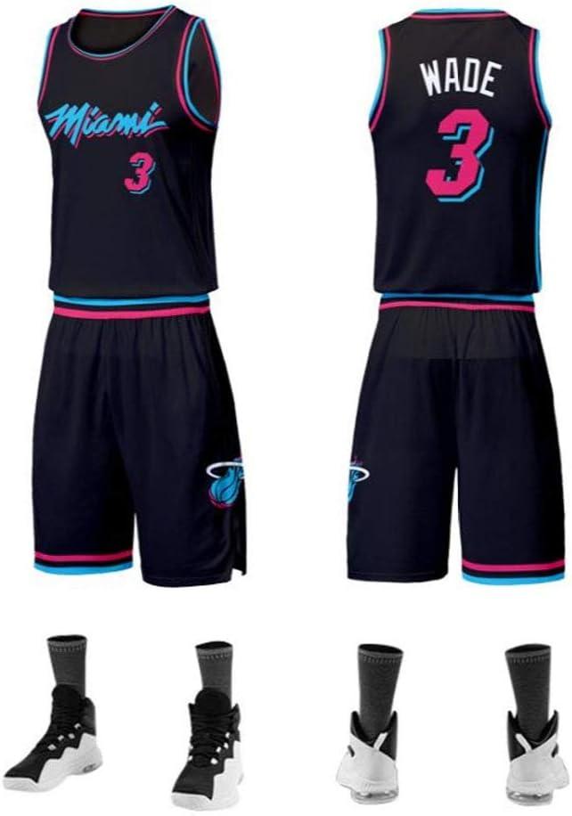 LLZYL Baloncesto Jersey NBA Dwyane Wade # 3 del Juego De Ni/ños para Adultos Heat De Miami Jersey Baloncesto Tops Y Pantalones Cortos Transpirable Tela Alero