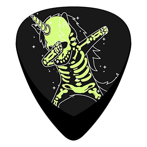 Dabbing Unicorn Skeleton Guitar Picks Celluloid Plectrum Paddles 12 Pack For Musician Acoustic Mandolin Bass]()
