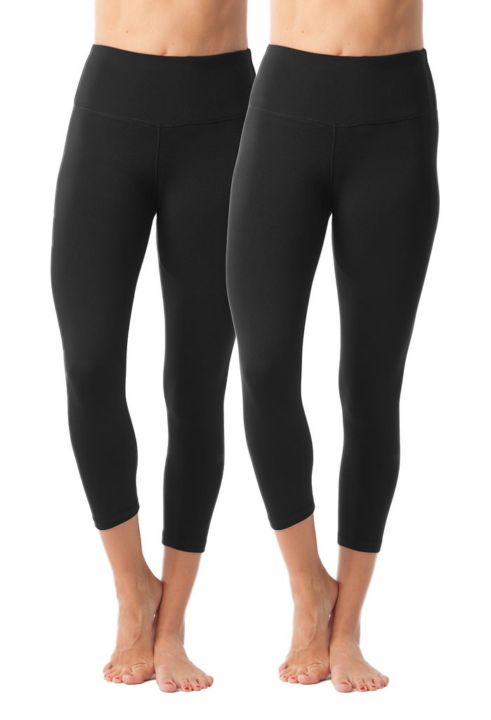 90 Degree By Reflex - High Waist Tummy Control Shapewear - Power Flex Capri - Black 2 Pack - Large