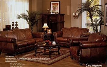 Amazon.com: 2 pc brown leather sofa and love seat set with ...