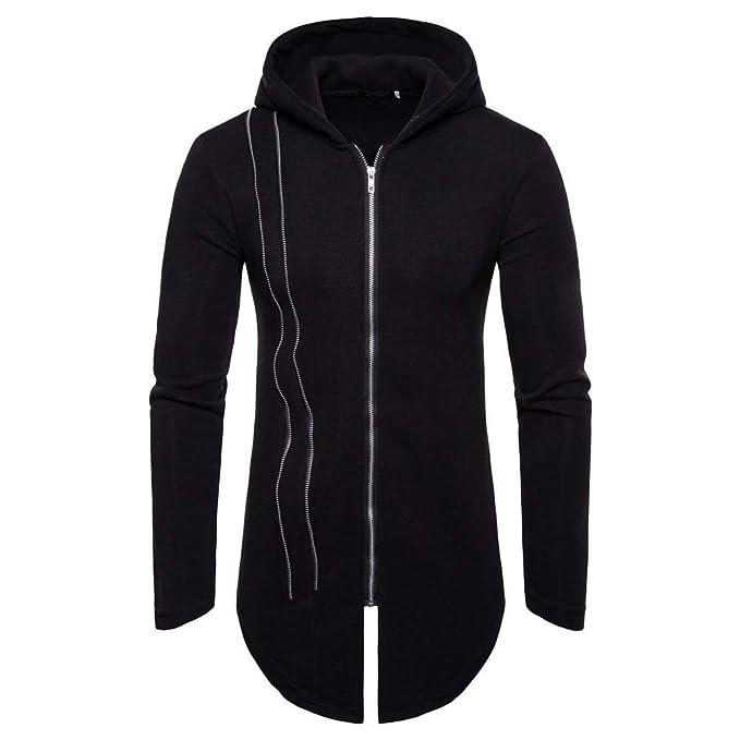 GOVOW Tracksuits for Men Autumn Winter Long Sleeve Zipper Splicing Hoodies Sweatshirt (M,Black