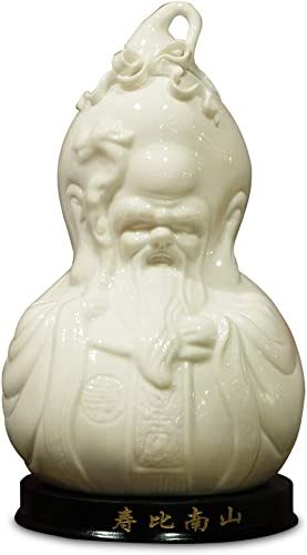 ChinaFurnitureOnline Porcelain God of Longevity Statue with Wooden Stand, White Glaze