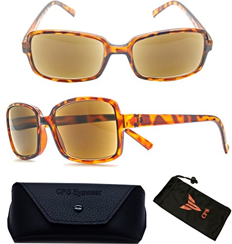 (#3SPSR Tort) 1 Pair Fashion Designer Women Squared Rectangular Shape SUN-READER Glasses - All In One Reading Glasses & Sunglasses + Free Hard Case + Cleaning Pouch ( Strength : - In Sunglasses All One