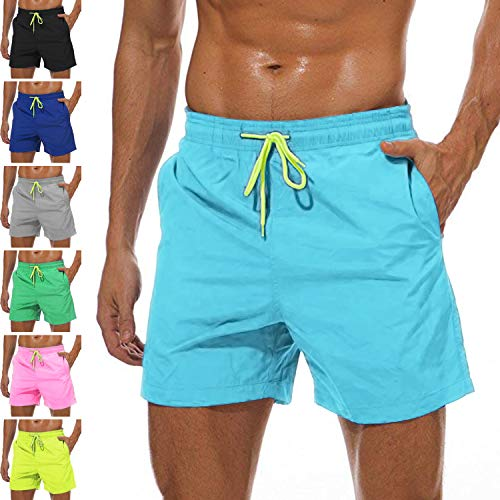 (YnimioAOX Men's Trunks Quick Dry Shorts Gym Athletic Bodybuilding with Pockets Swimming Briefs (Sky Blue, M/US XS))