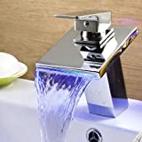Ouku® Deck Mount Stainless Steel Bathroom Sink Faucet Contemporary Thermochromic Multi-color Waterfall LED Widespread Spout Ceramic Valve Water Flow Powered Bath Shower Faucets Bathtub Mixer Taps Single Hole Vessel Sink Lavatory Plumbing Fixture