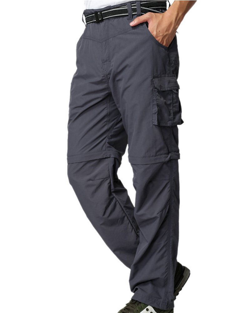 Mens Hiking Pants Convertible Zip Off Fishing Travel Safari Quick Dry Lightweight Trousers #225,Grey,XL 38 by Jessie Kidden