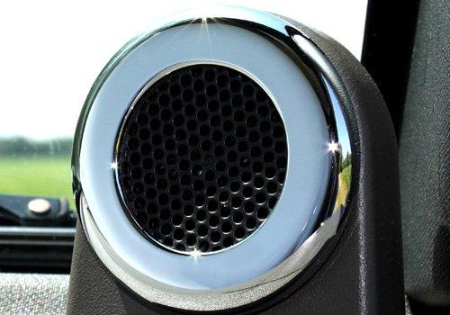 Action Artistry Jeep Wrangler Polished Billet Aluminum Dash Speaker Trim - DASH-SP-HLT-CRM