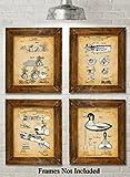 duck hunting guns - Original Duck Decoys Patent Art Prints - Set of Four Photos (8x10) Unframed - Great Gift for Duck Hunters