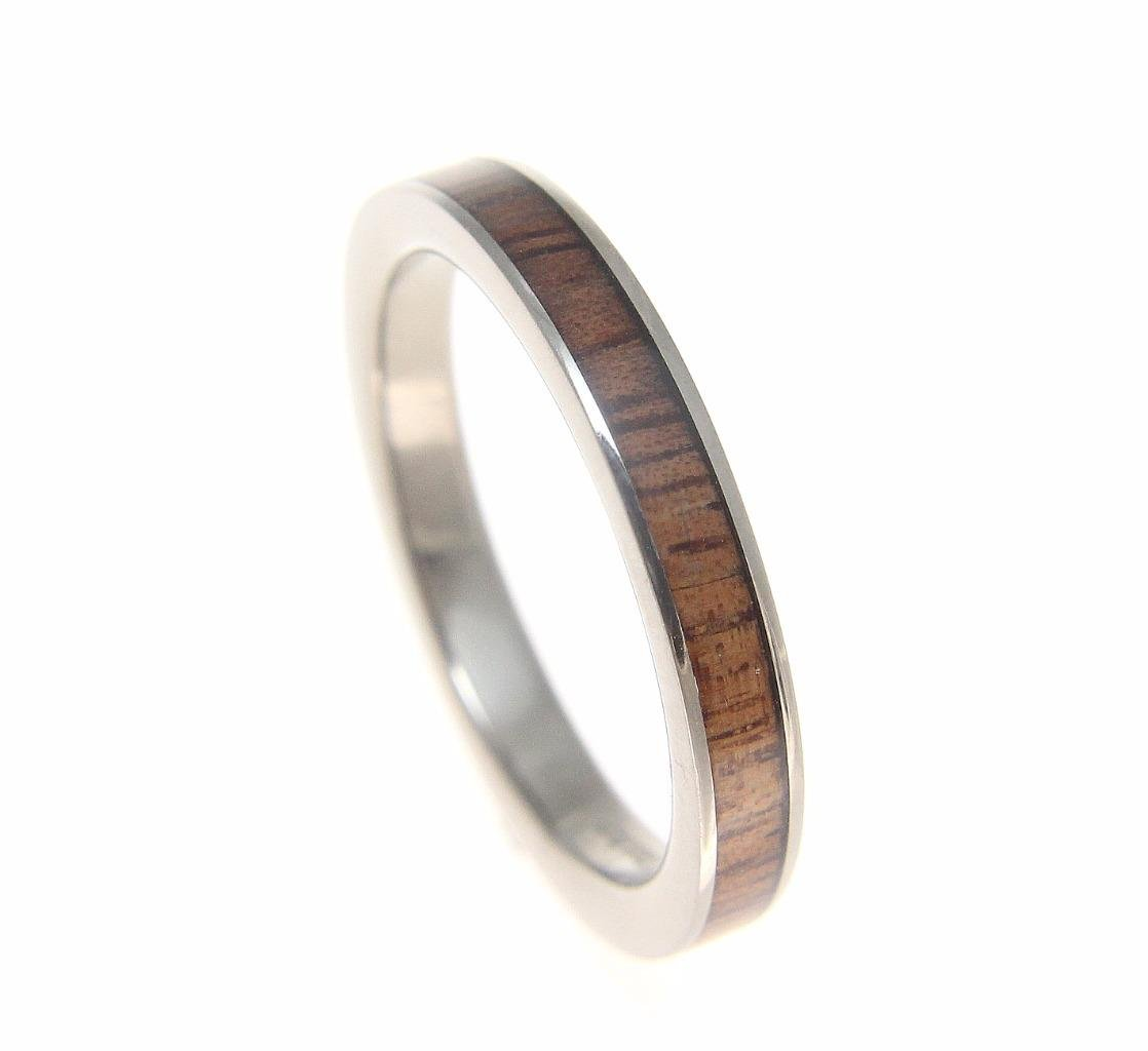 Genuine inlay Hawaiian koa wood wedding band ring titanium 3mm size 6.5 by Arthur's Jewelry (Image #3)