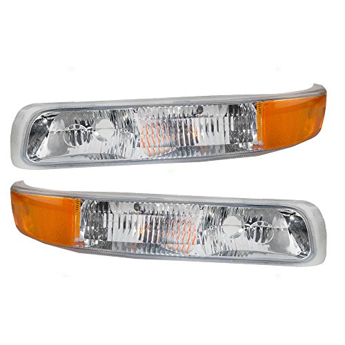 BROCK Driver and Passenger Park Signal Side Marker Lights Lamps Replacement for Chevrolet Pickup Truck SUV 15199558 15199559